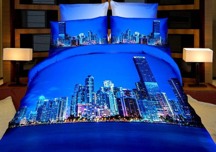 Wysokie wieżowce elegancka niebieska pościel z mikrowłókna