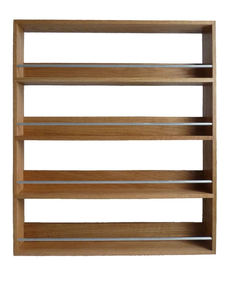 Classic Solid Wooden Brown Wall Mounted Spice Rack With