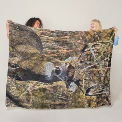 Outdoorsman Whitetail Deer Buck Hunter Plush Fleece Blanket - home gifts ideas decor special unique custom individual customized individualized