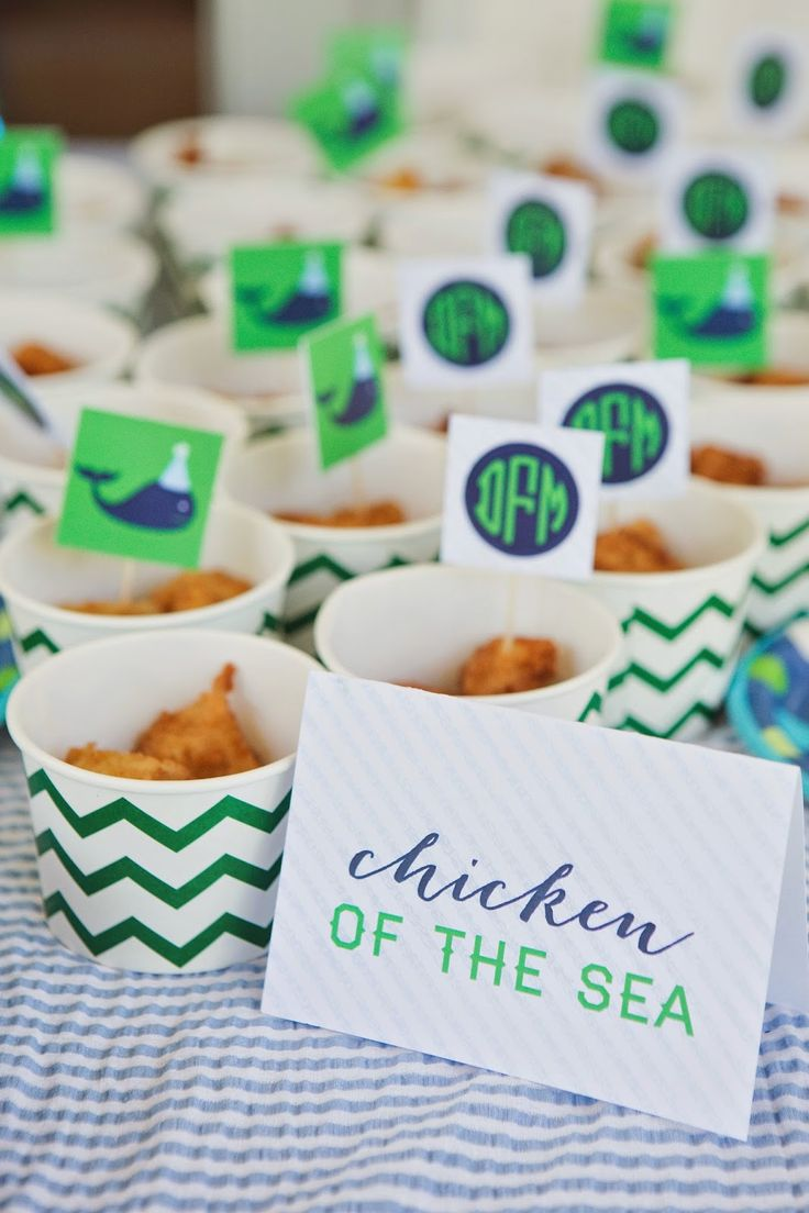#Monogrammed food tags for a #preppy #whale birthday party I Custom by Nico and Lala