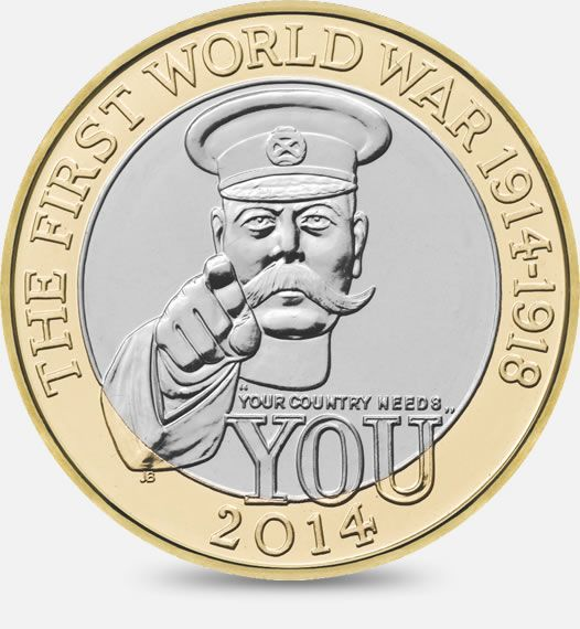 The 100th Anniversary of the Outbreak of the First World War - 2014  http://www.royalmint.com/discover/uk-coins/coin-design-and-specifications/two-pound-coin/2014-the-100th-anniversary-of-the-first-world-war