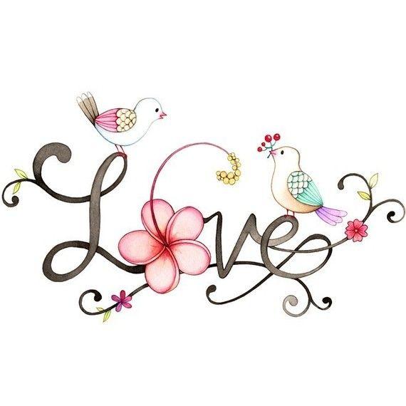 Love wall art, Love typography, Bird wall art, Lovebirds wall decor, typographic print, Print of a watercolor painting, Bird illustration