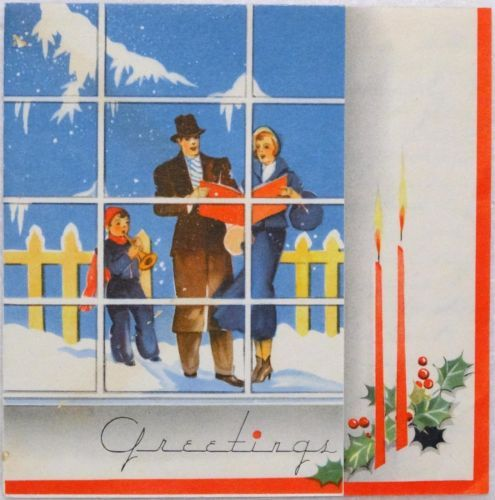 #1271 30s Art Deco People in the Window-Vintage Christmas Greeting Card