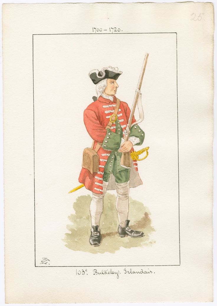 French; Bulkeley's Regiment of Foot(an Irish Regiment in French service) c.1700-1720