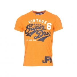 Tee-shirt col rond Superdry Stacker en coton mélangé doublé orange chiné floqué