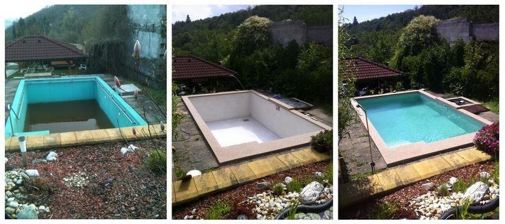 Průběh rekonstrukce starého betonového bazénu pomocí stěrky Ercole.