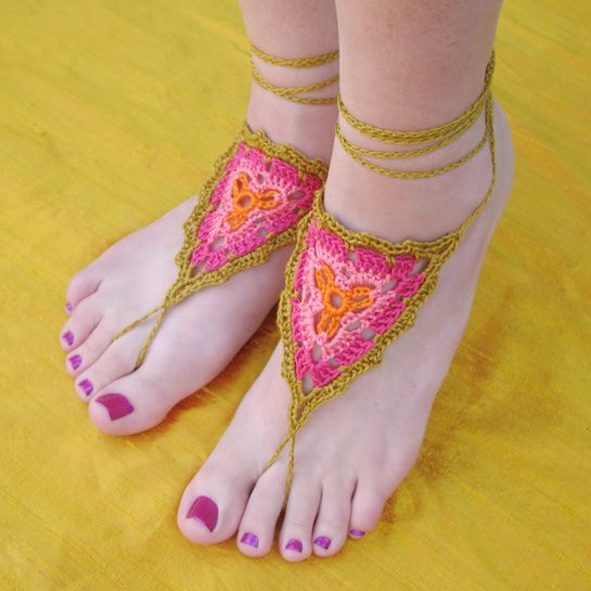 Crochet Gypsy Barefoot Sandals by Gleeful Things, via Flickr