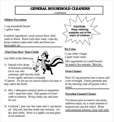 Sample House Cleaning Checklist   Documents In Word, PDF