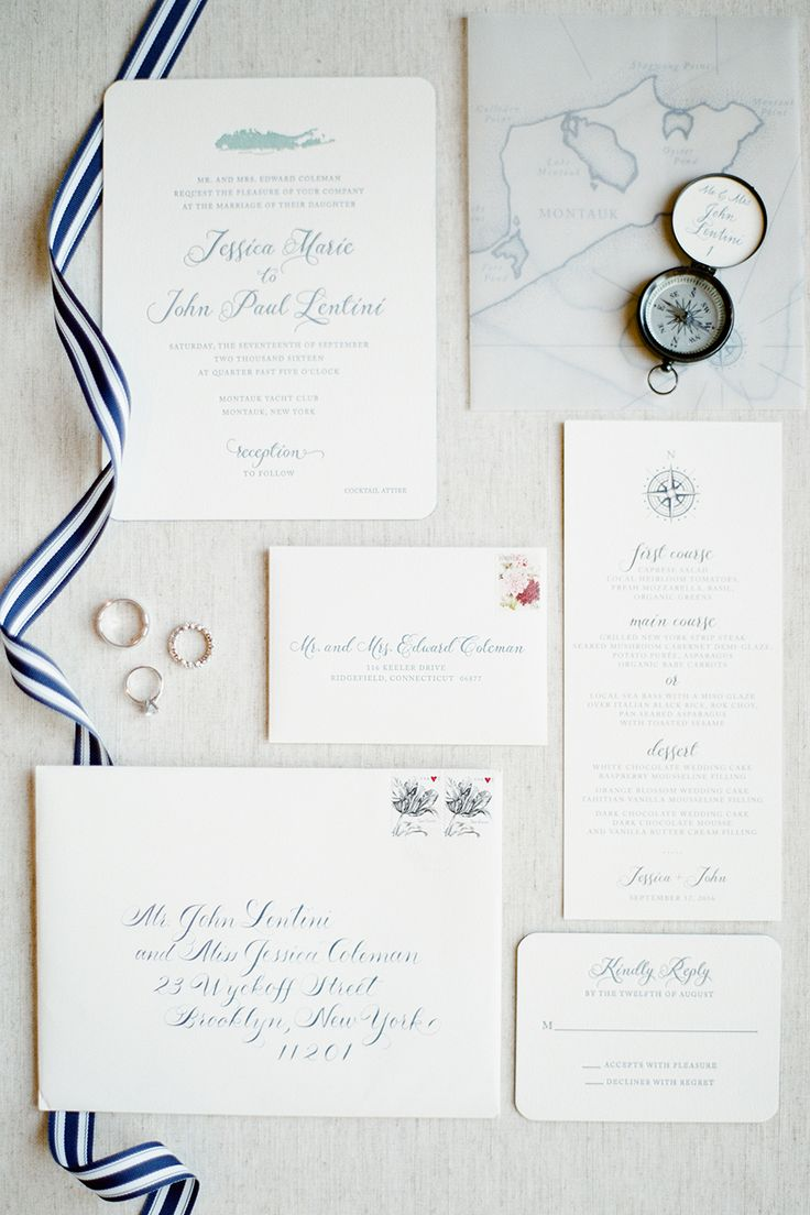 Nautical inspired wedding invitation suite: Fall Nautical Montauk Yacht Club Wedding