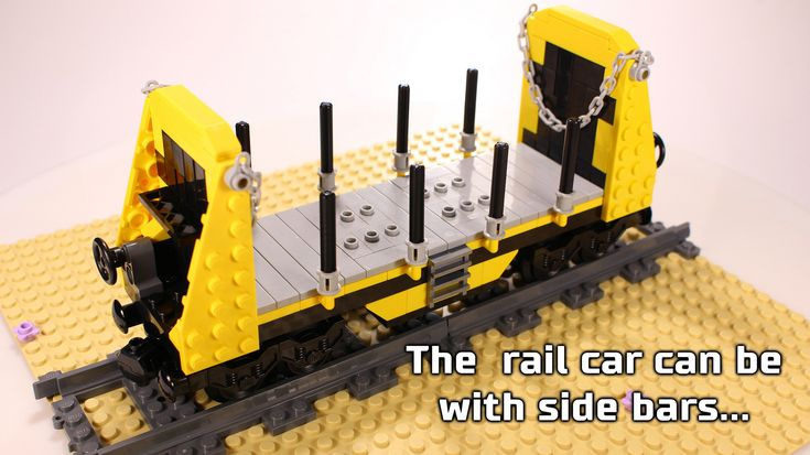 https://flic.kr/p/21AZnY1 | Lego Bulkhead Flatbed Rail Car / Wagon with sidebars | Lego Bulkhead Flatbed Rail Car / Wagon with sidebars - suitable to carry bulk cargo like wood logs, rails, some small trucks, vans and other cargo.  If you want to see more from the railcar, watch the video for it: www.youtube.com/watch?v=vx4r5C0IqAk