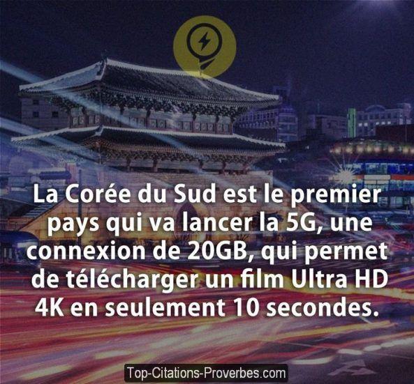 La Corée du Sud est le premier pays qui va lancer la 5G, une connexion de 20GB, qui permet de téléch...