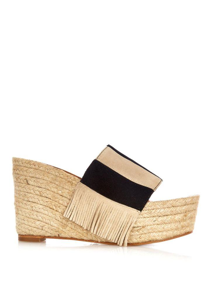 Estel striped-suede espadrille wedges | Chloé | MATCHESFASHION.COM UK