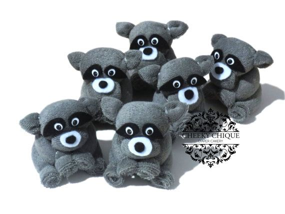 Washcloth Raccoon, Woodland Baby Shower Favors by Cheeky Chique Baby