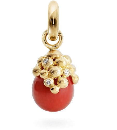 Ole Lynggaard Copenhagen Sweet Drop charm Red Coral cabochon with diamonds on 18ct yellow gold - Kennedy Jewellers