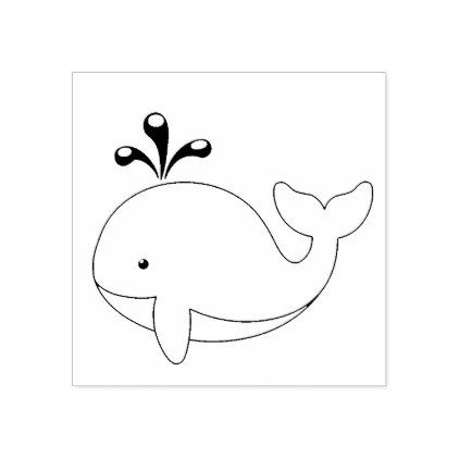 Chubby Cartoon Whale Rubber Stamp - animal gift ideas animals and pets diy customize
