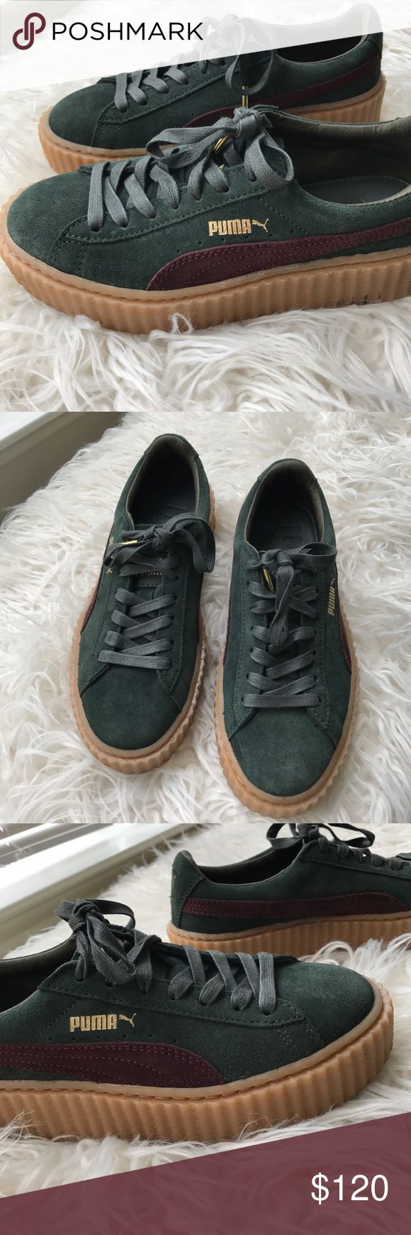 Green rihanna Creepers Only TRIED on, never wore outside!! Dark green suede creepers, so cute Puma Shoes Sneakers