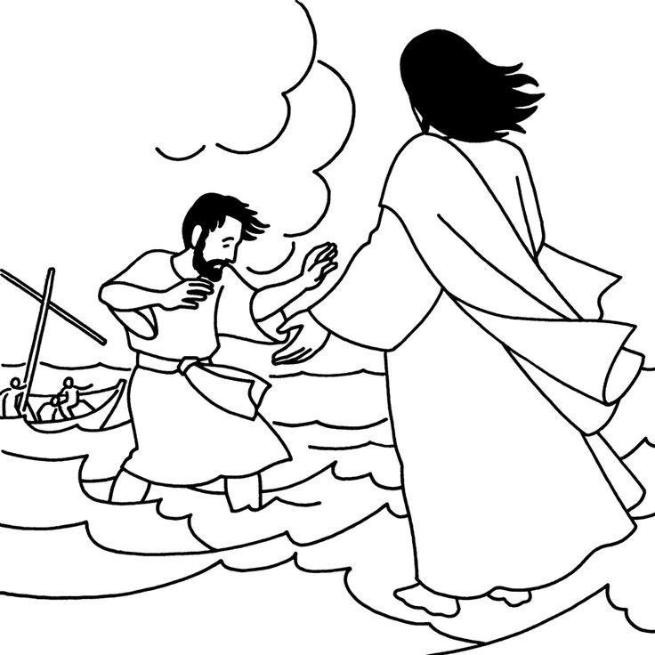 Jesus walks on water coloring sheet
