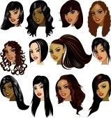 Illustration des visages de femmes indiennes, asiatiques, orientale, Moyen-Orient et Asie. Idéal pour les avatars, les maquillage, les tons de chair ou les styles des cheveux des femmes aux cheveux foncées. stock photography