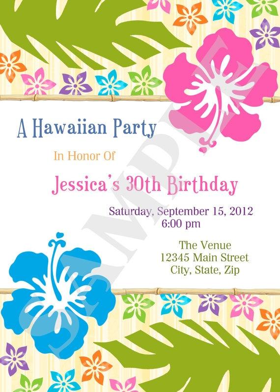 printable hawaiian luau party event invitation by