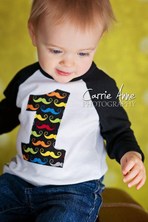 Little Mister Mustache Birthday Shirt First by wigglesandgiggles1