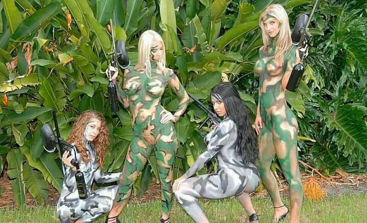 Paintball girls in camo body paint have hit