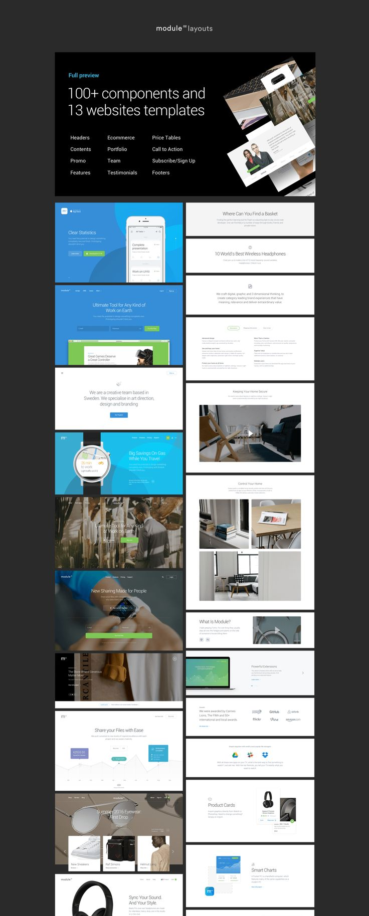 Module 02: Layouts is a kit contains more than 100 elaborate components in 12 categories and 13 web site templates. Each is fully customizable, exceptionally easy to use and carefully assembled in Sketch and Photoshop formats.