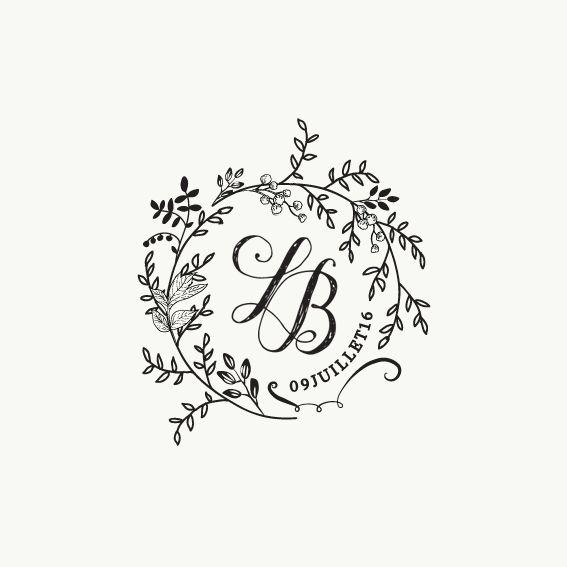 Tampon encreur personnalisable pour votre papeterie de mariage avec vos initiales et la date de votre événement. Tampon manche en bois.