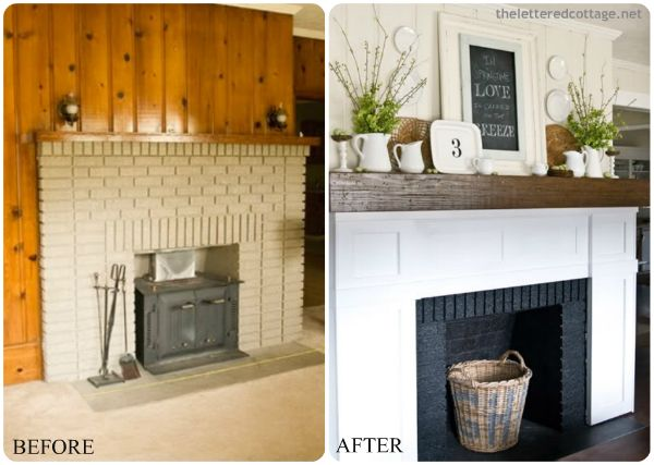 Building-out Around the Brick:  If you're still not satisfied with a mostly brick fireplace, you can opt to build out around it. Using inexpensive MDF material you can design a high-end looking fireplace on a small budget. This technique also helps to give your mantel more bulk and space for those fun decor items.