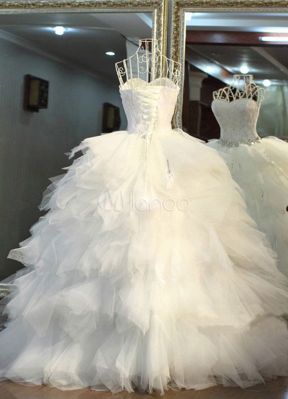 White Ball Gown Sweetheart Neck Feather Wedding Dress For Bride - Milanoo.com