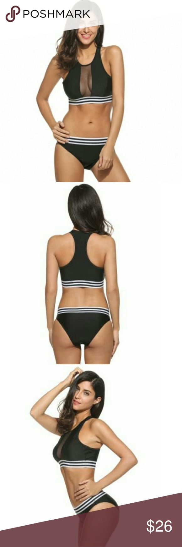 Cute bikini Super cute black bikini with stripped elastic waist.   Material: Polyamide Garment Care: Wash max 40°C, Hang to dry, Iron with press cloth  Measurements in inches   Size.        Upper Bust.       Under Bust.         Hip XS.               26.9                   24.2                 26.9  Sm               28.1                   25.7                28.1  M.                 30                     27.3                30 inch Swim Bikinis