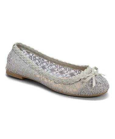 Gray Lace Ballet Flat by Ositos Shoes #zulily #zulilyfinds