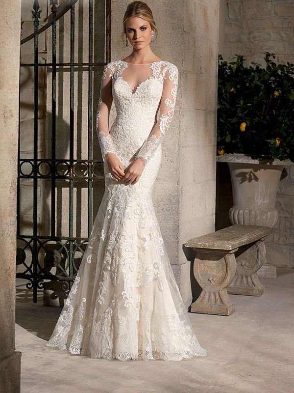 Lace Long Sleeves Brush Train Bateau Wedding Dress #Lace Wedding Dress #Fashion #Long Sleeves #Wedding Gown