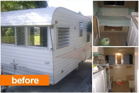 "Before & After: ""Audree"" Gets a Makeover The Fancy Farmgirl: Farms Girls, Old Campers, Campers Makeovers, Travel Trailers, Fancy Farms, Camps Glamping, Fancy Farmgirl, Campers Remodel, Vintage Campers"