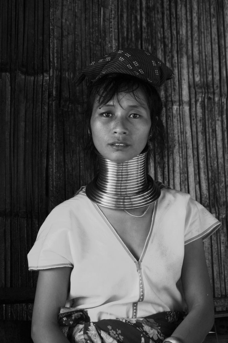 Long neck tribe in Chiang Mai. Black and White print on metal. © chianacoronis