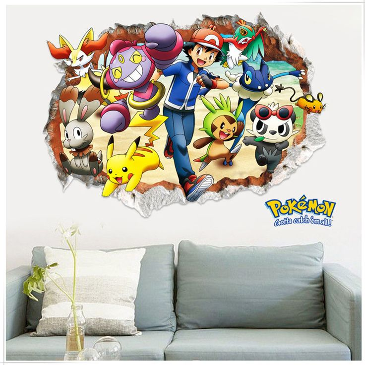 Creative 3d Kawai Pokemon Wall Sticker For Kids RoomS Removable Living Room  Wall Pictures Pvc Cute Part 97