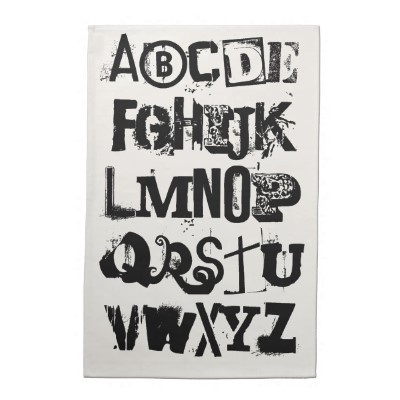 Alphabet Font Fun Bold Black And White Typography Design Kitchen Towel Quirky Creative
