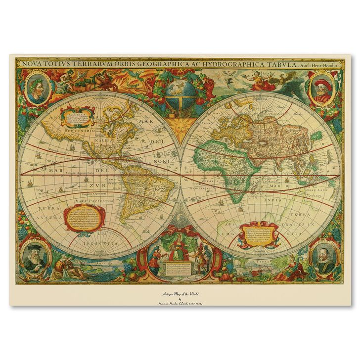 Old World Map Painting On Canvas