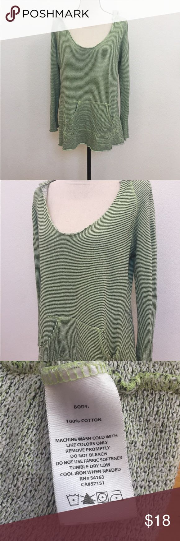 Calvine Klein hoodie sweater green gray Sz small Pre owned condition without stains or holes, size small loose fit, length 26, chest 20, gray and green stripe, long silvers, hoodie sweater Calvin Klein Tops Sweatshirts & Hoodies