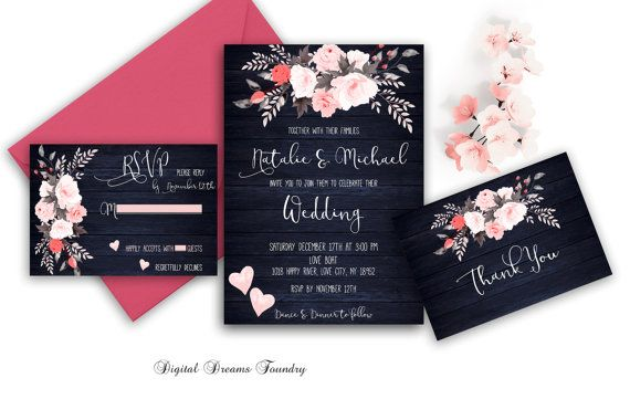 Floral Wedding Invitation Printable Navy Blue Wedding