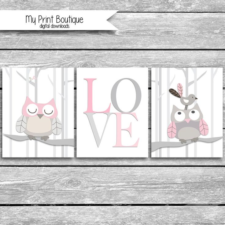 Set of 3 8x10 Inch PINK Baby Night Owl Prints - Coordinates With Levtex Crib Bedding LOVE Woodland Tree Owls Bird Forrest Digital Downloads by MyPrintBoutique on Etsy
