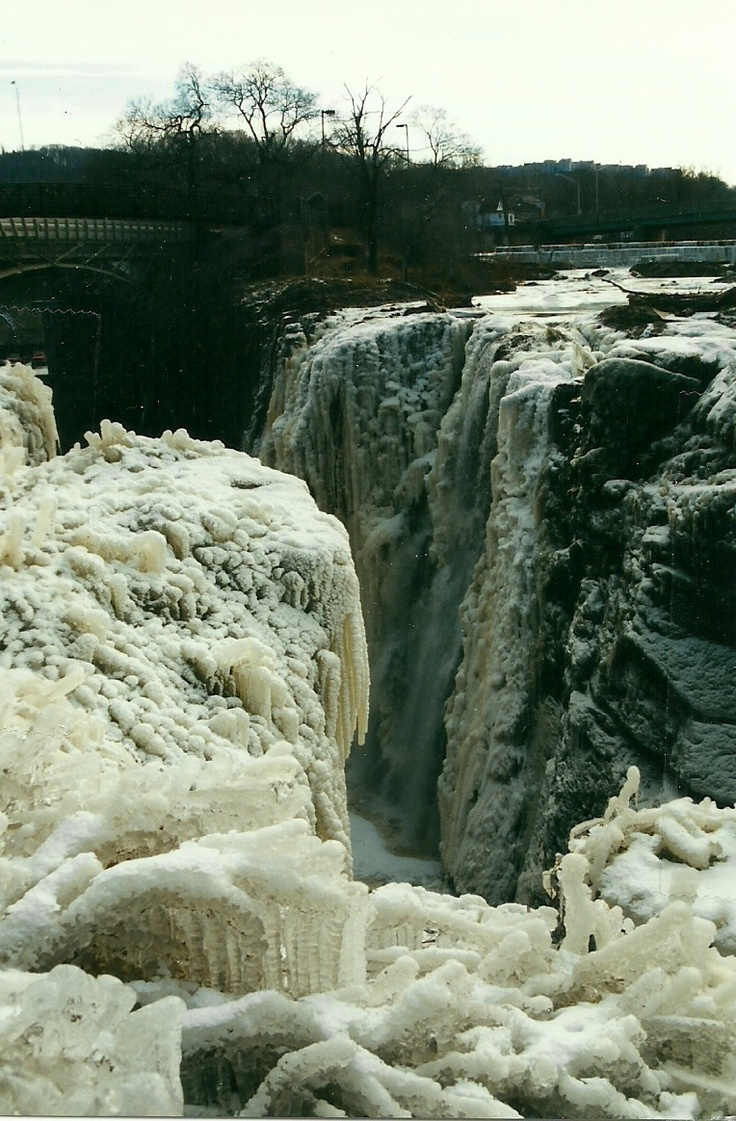 Close up of the frozen sections of the Paterson Falls, Paterson, NJ