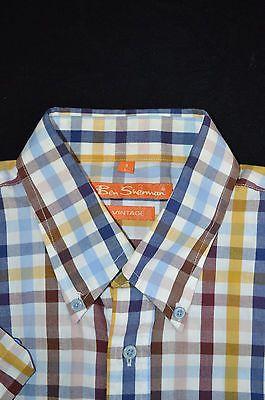 Ben Sherman Button Up S/S Maroon Mustard Blue Gingham Check Shirt Men's L Large