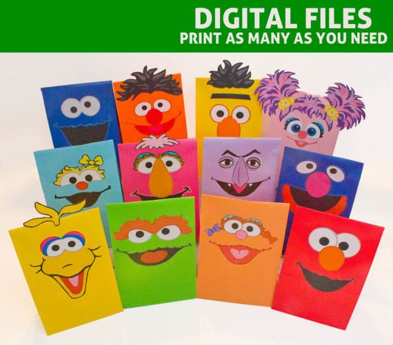 Create adorable favor bags for your Sesame Street themed party. Transform your plain lunch bags into classic characters!  These DIGITAL PRINTABLES feature face pieces for TWELVE (12) classic Sesame Street characters: Elmo, Bert, Ernie, Oscar the Grouch, Big Bird, Cookie Monster, Grover, Zoe, Abby Cadabby, Rosita, Telly Monster, and The Count.  ----------------------------------------------------------- WHAT IS INCLUDED IN THE PRINTABLE PDF…