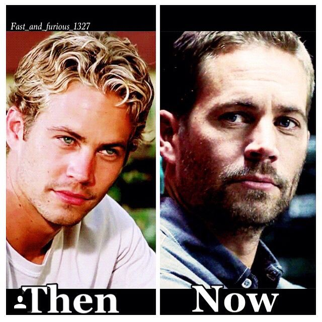 Brian O'Connor then and now in The Fast and the Furious movies...