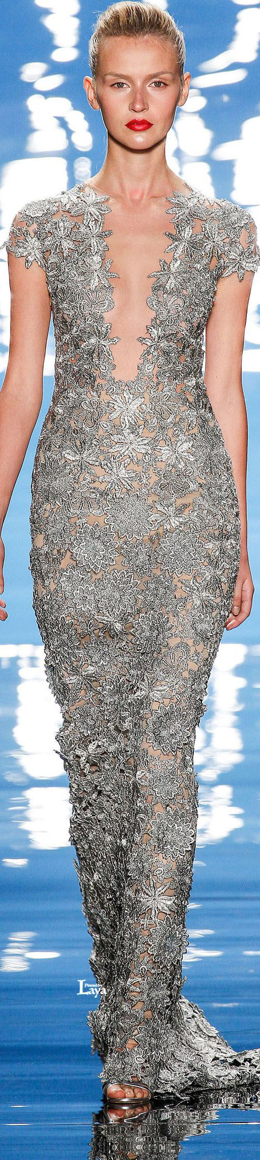 Reem Acra ~ Spring Silver Lace Gown w Cap Sleeves 2013