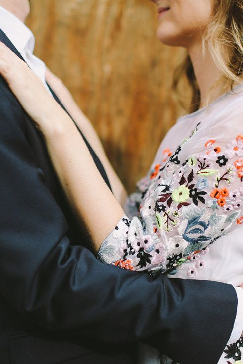 This embroidered option:   38 Beautifully Modern Wedding Dress Ideas
