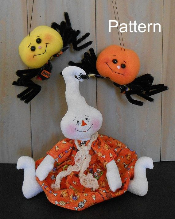 PDF E-Pattern 78 Raggedy Ghost Doll Spider Halloween Holiday