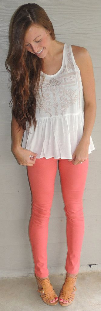 Coral Skinny Jeans #ShopMCE