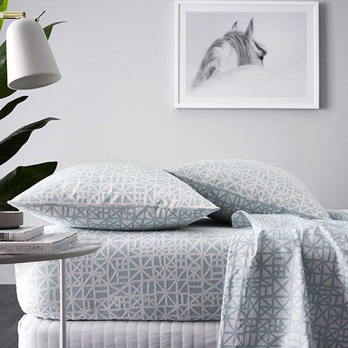 Maze Flannelette Sheet Set Blue