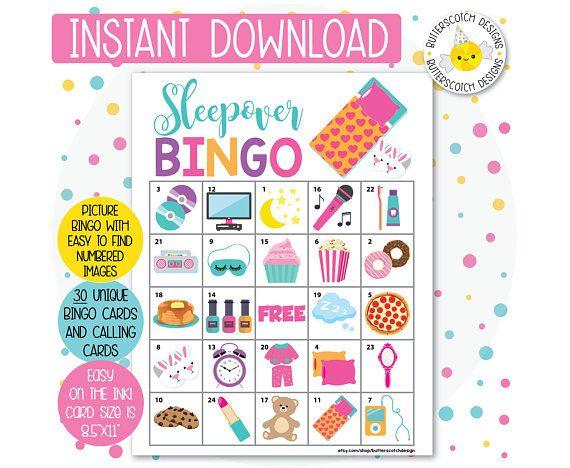 Sleepover Slumber Party Printable Bingo Cards 30 Different Etsy In 2020 Slumber Party Games Sleepover Party Games Slumber Party Birthday